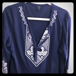 J. Crew Navy Blue Blouse with White Embroidery